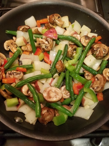 Green bean, red and green bell pepper, mushroom, onion, red potato